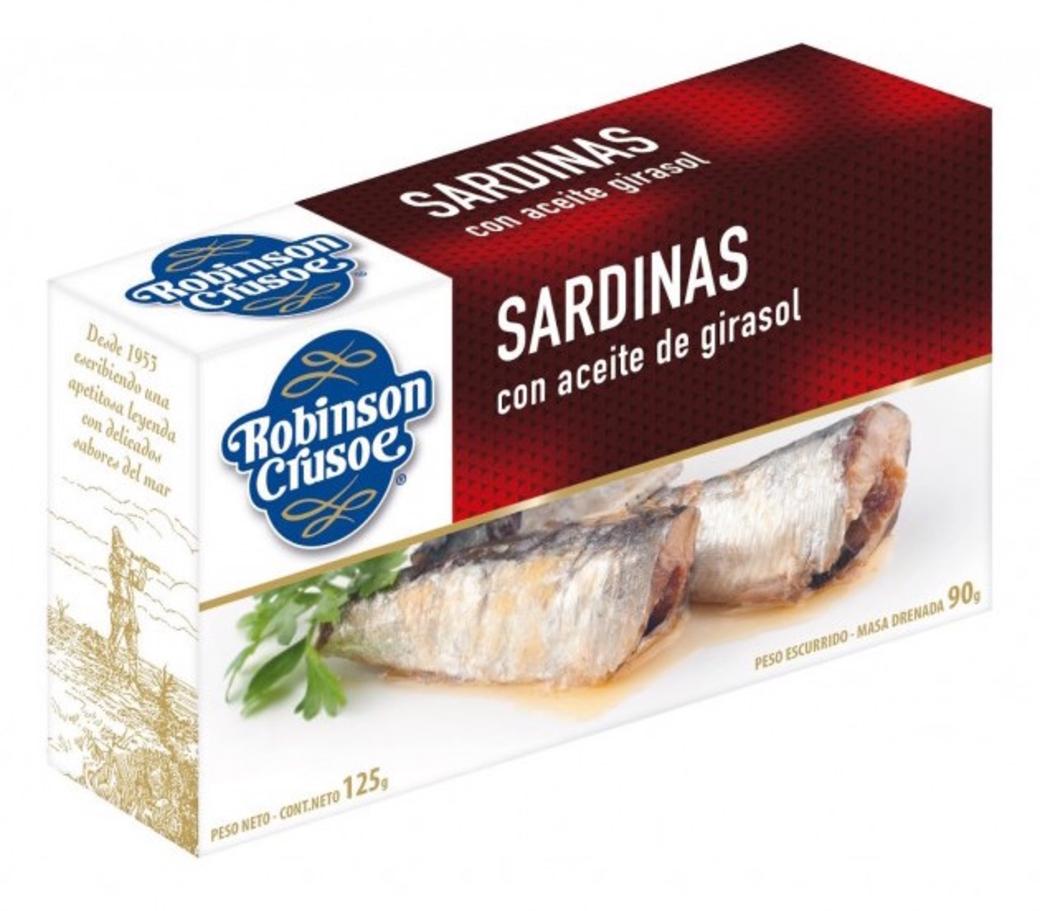 Sardinas en Aceite Girasol Robinson Crusoe 125 gramos