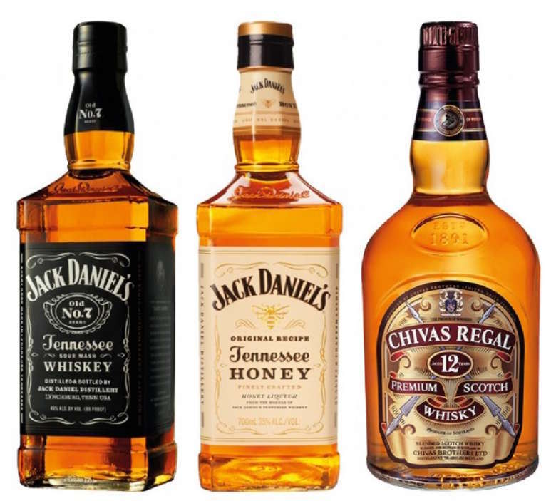 PACK JACK/HONEY/CHIVAS: Whiskey Jack Daniels N7 750cc + Whiskey Jack Daniels Honey 750cc + Whisky Chivas Regal 12 años 750cc