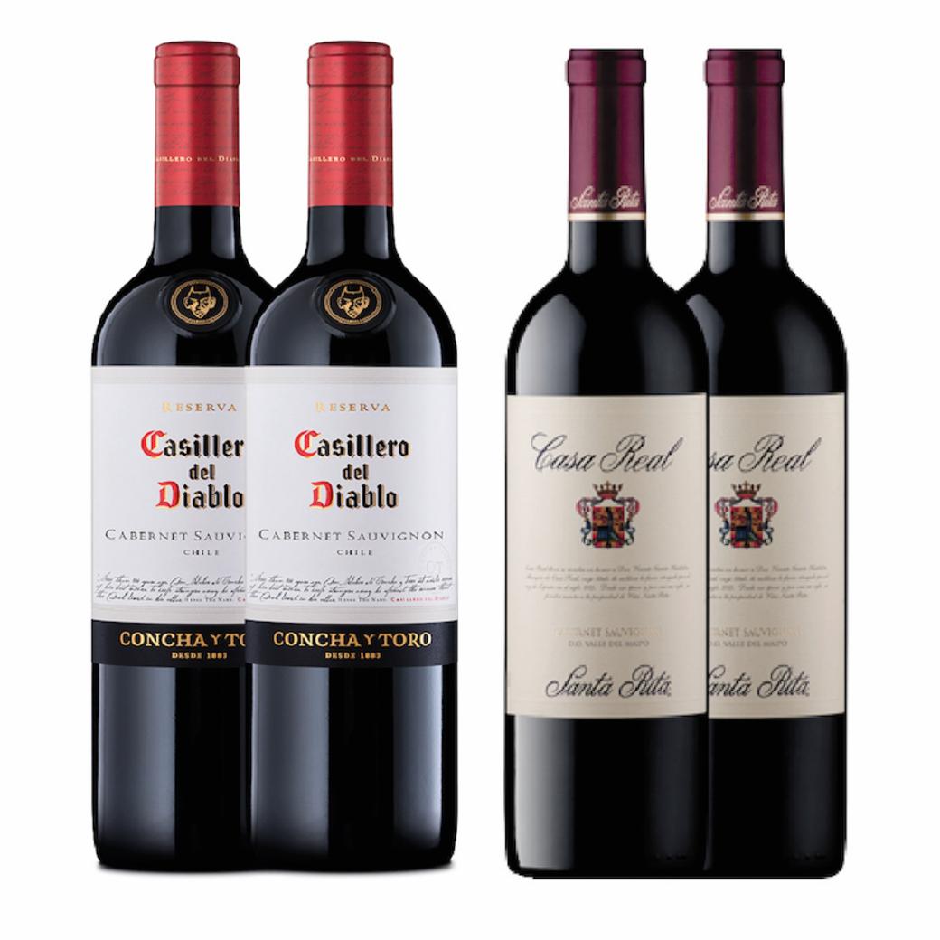 2x Casillero Del Diablo Cabernet Sauvignon + 2x Casa Real Cabernet Sauvignon
