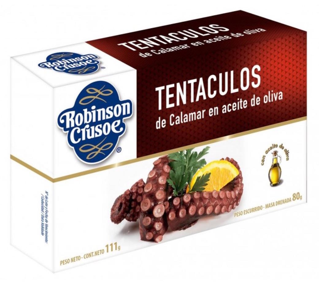 Tentáculos Calamar en Aceite de Oliva Robinson Crusoe 111 gramos