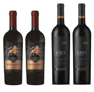 2x Vino Bestia Negra Carmenere 750cc + 2x Vino Ventisquero Grey Cabernet Sauvignon 750cc
