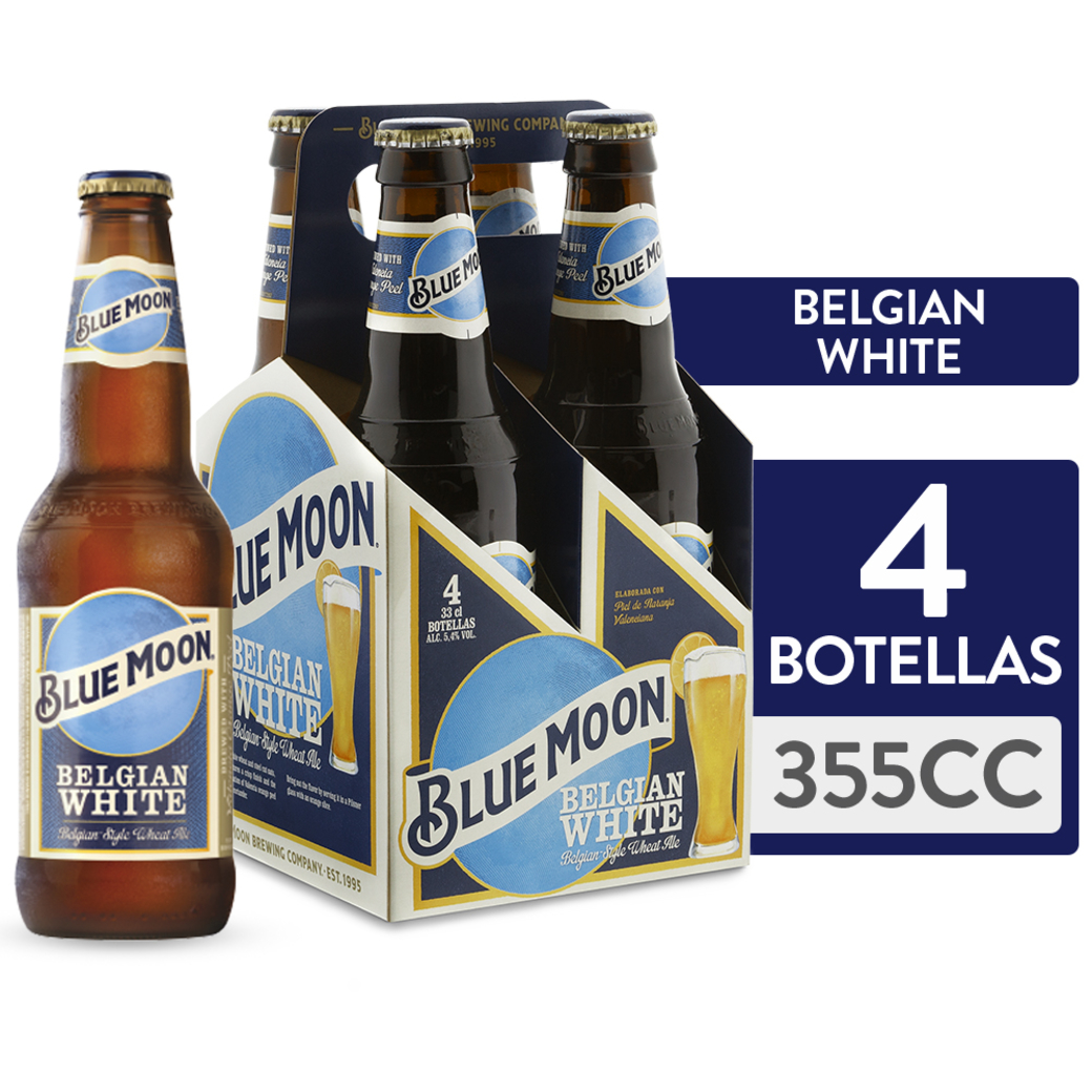 4x Cerveza Blue Moon en Botellas 355cc