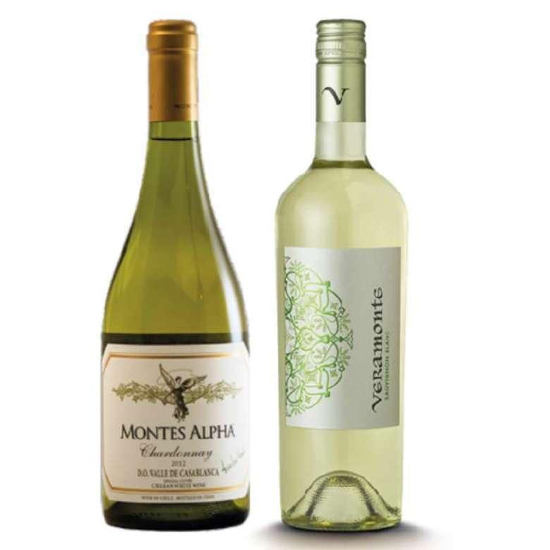 PACK DUO ALPHA VERAMONTE: Vino Montes Alpha Chardonnay 750cc + Vino Veramonte Sauvignon Blanc reserva 750cc