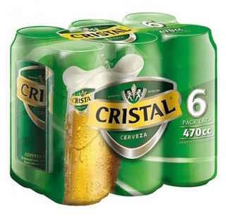 6x Cerveza Cristal Lata 470cc