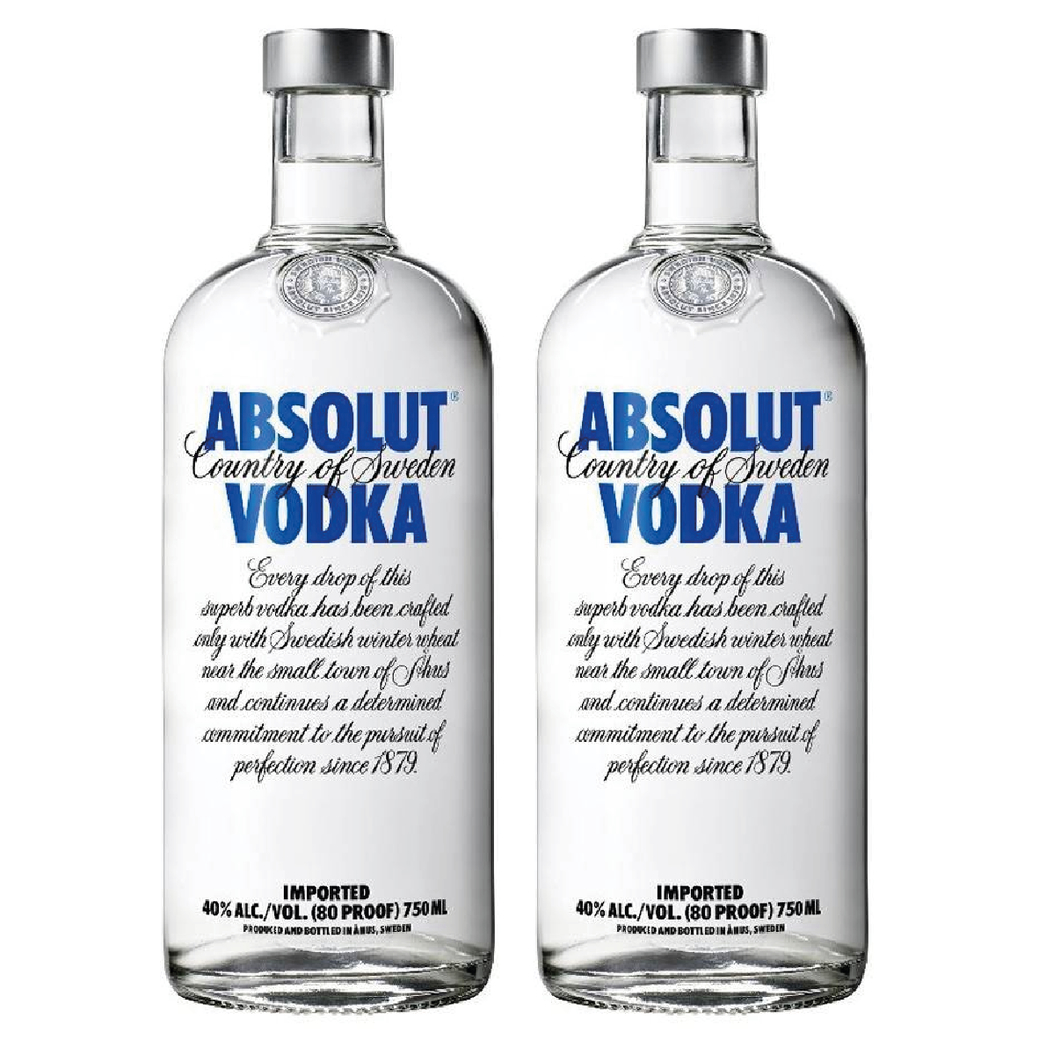 2x Vodka Absolut 750cc