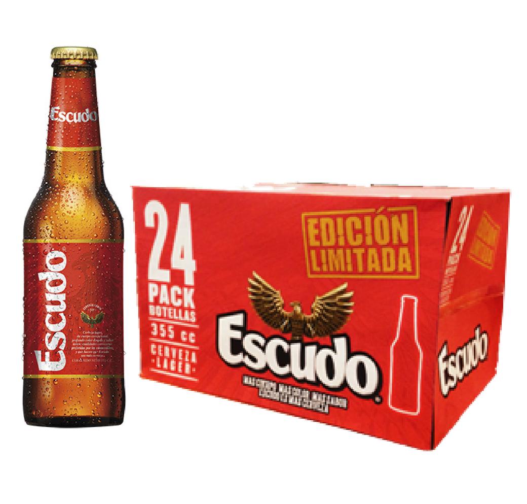 24x Cerveza Escudo Long Neck en Botellas 355cc