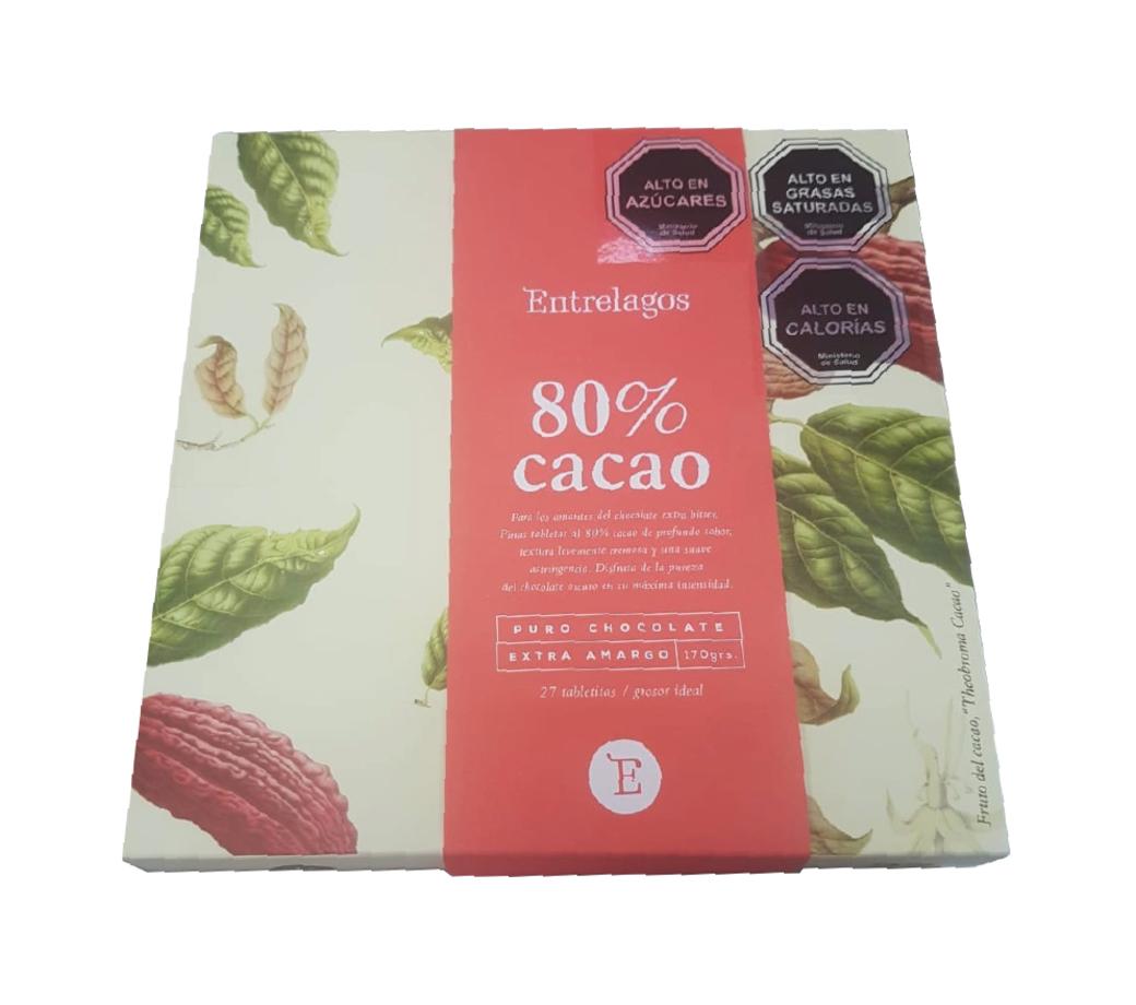 Caja Chocolate Entrelagos Puro Bitter 80% Cacao 148 gramos
