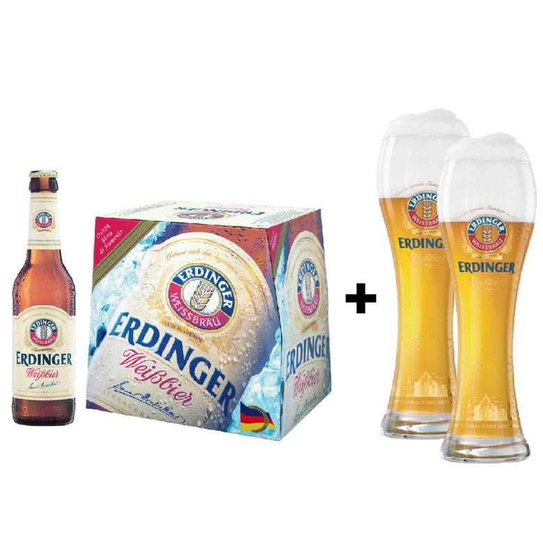 PACK ERDINGER: 12x Cerveza Erdinger Weißbier Botella 330cc + 2x Vaso Erdinger