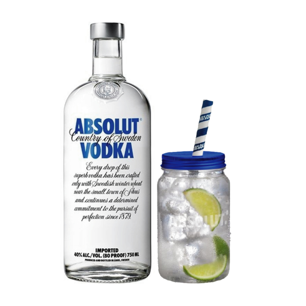 Vodka Absolut 750cc + Vaso Estilo Jarra de Regalo
