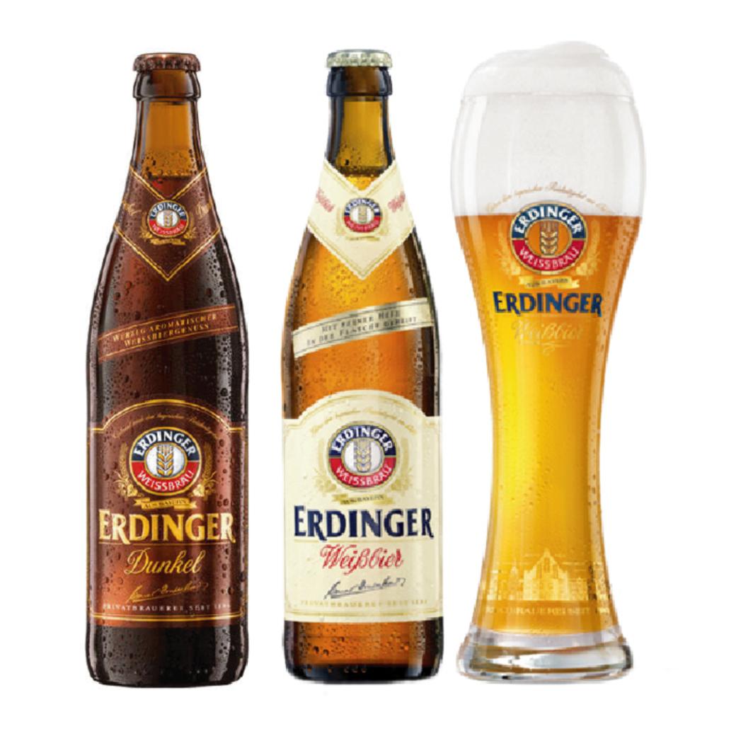 Pack Erdinger: 2x Cervezas Erdinger en Botellas 500cc + Vaso Erdinger