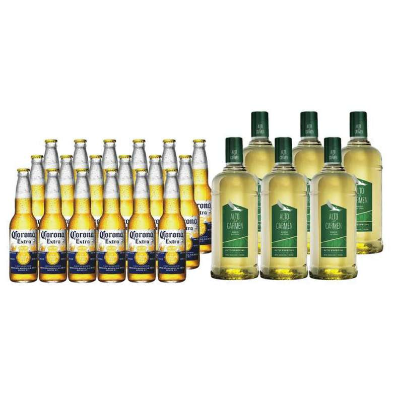 PACK CORONA ALTO: 18x Cerveza Corona Extra en Botellas 355cc + 6x Pisco Alto del Carmen 35 grados 1 Litro
