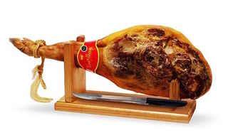 Pata de Jamón Serrano Trujillo Etiqueta Roja 7 kilos Con Atril y Cuchillo