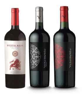 Vino Bestia Roja Cabernet Sauvignon 750cc + Vino Veramonte Merlot Reserva 750cc + Vino Veramonte Cabernet Sauvignon 750cc
