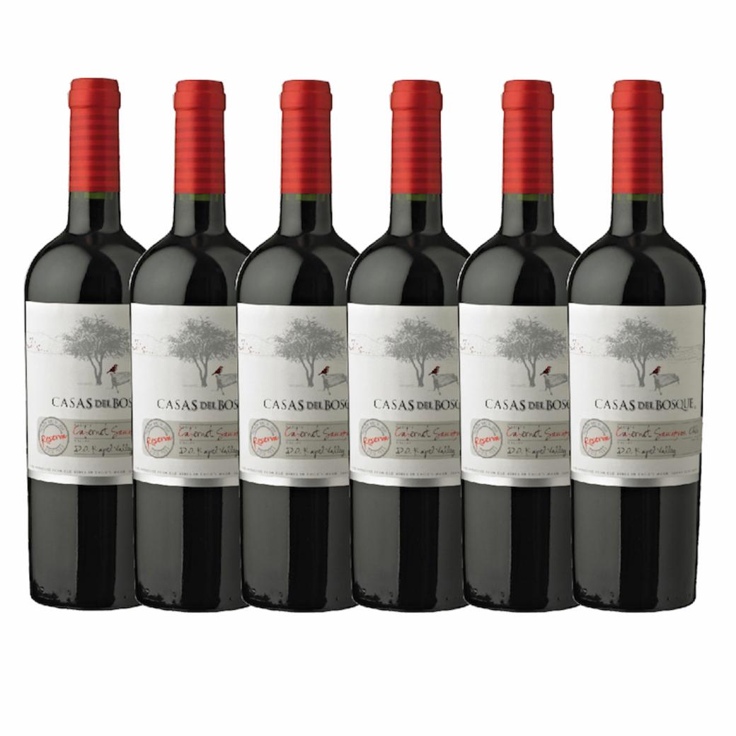 6x Vino Casas Del Bosque Reserva Carmenere 750cc