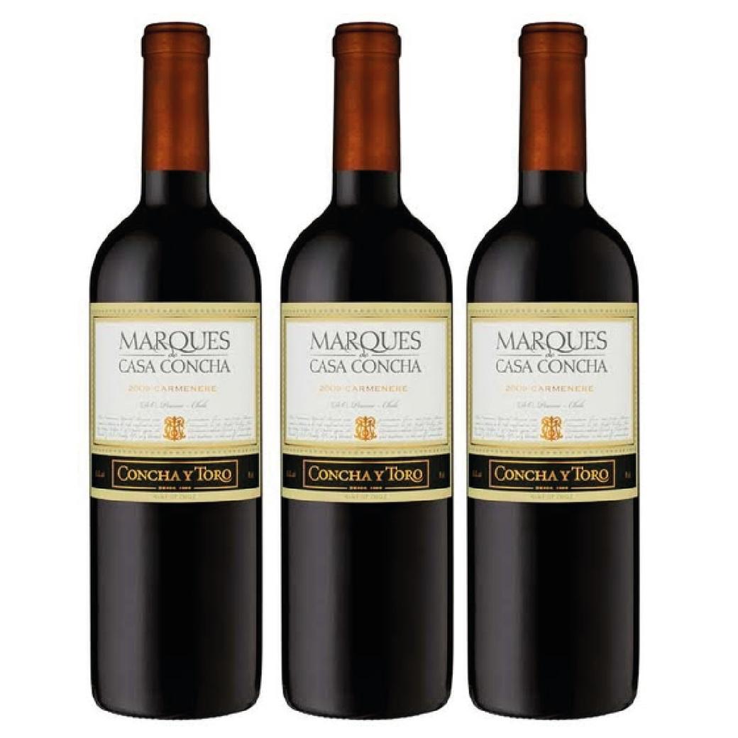 3x Vino Marques De Casa Concha Carmenere 750cc