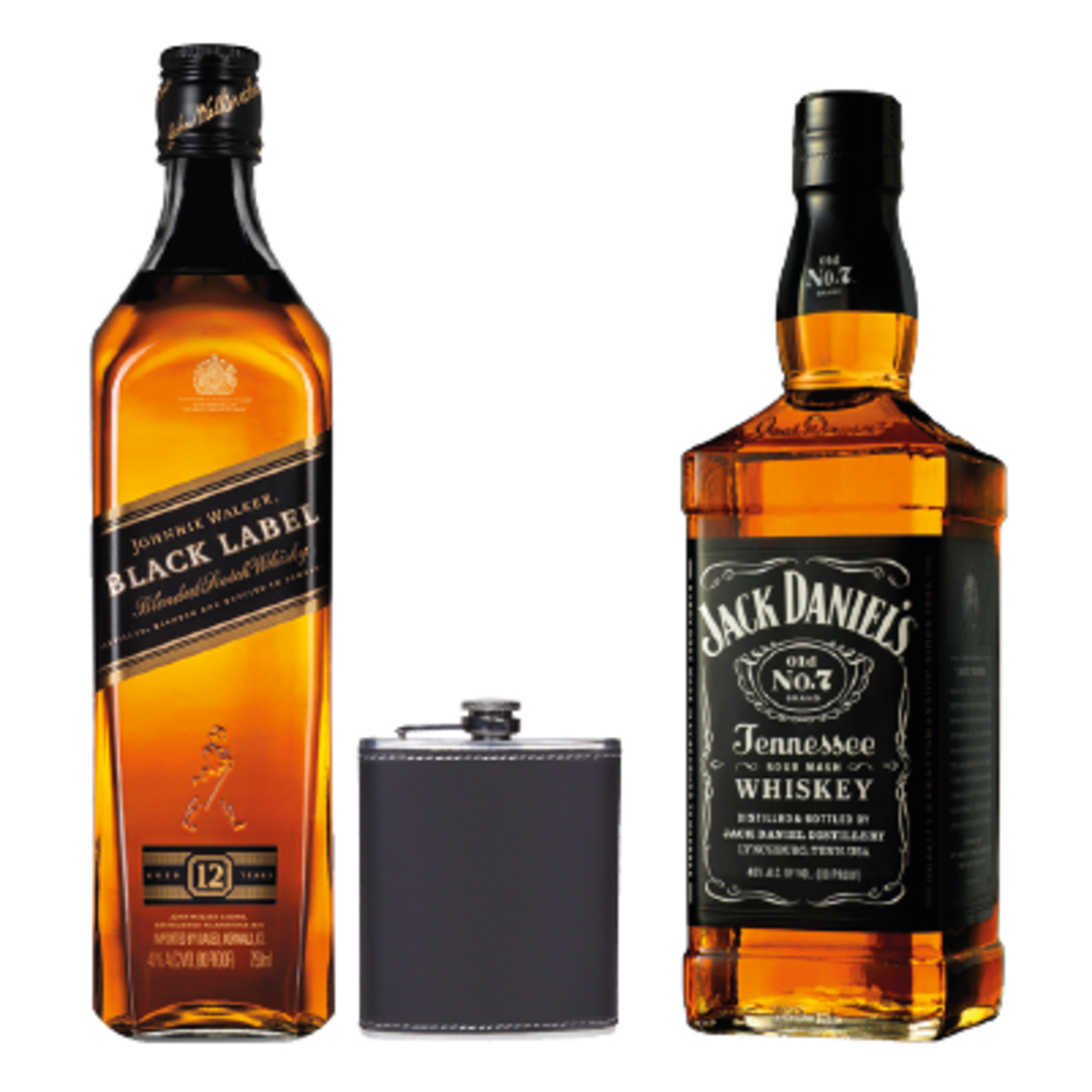 Johnnie Walker Black Label 750cc + Licorera + Jack Daniels Old N7 750cc