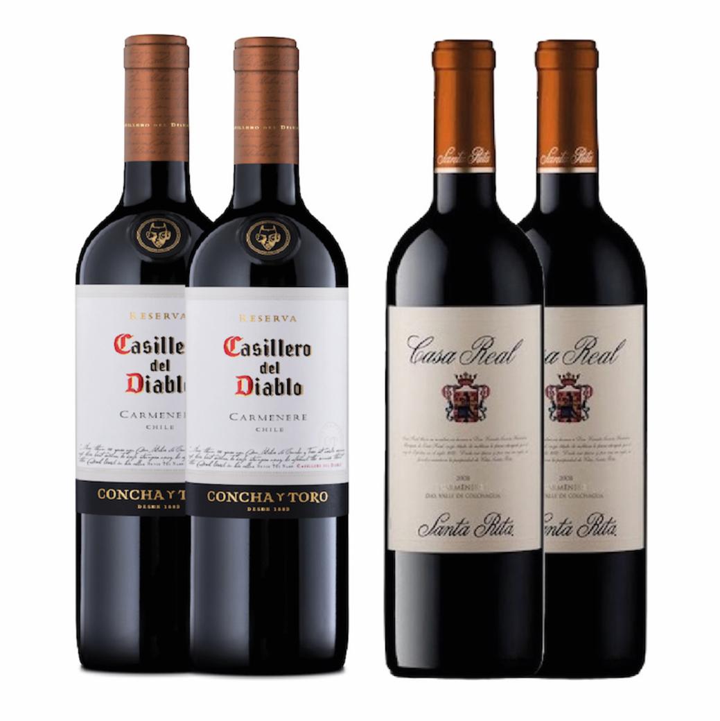 2x Casillero Del Diablo Carmenere + 2x Casa Real Carmenere