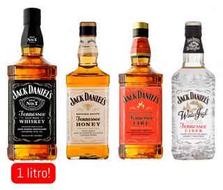 JACK PACK FULL: Jack Daniels N7 1 litro + Jack Daniels Honey 750cc + Jack Daniels Fire 750cc + Jack Daniels Winter 750cc