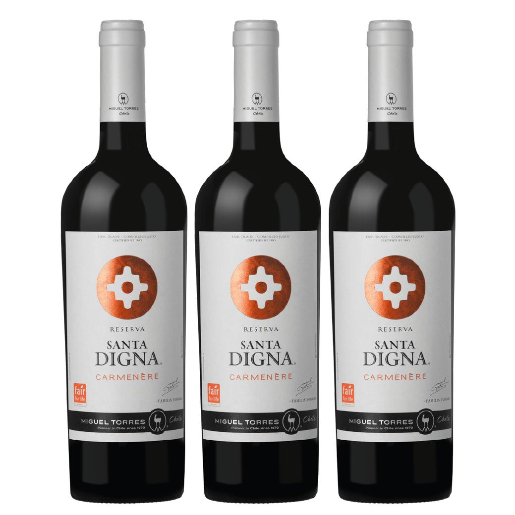 3x Vino Santa Digna Reserva Carmenere 750cc