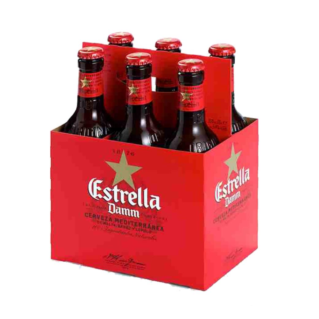 6x Cerveza Estrella Damm en Botellas 330cc