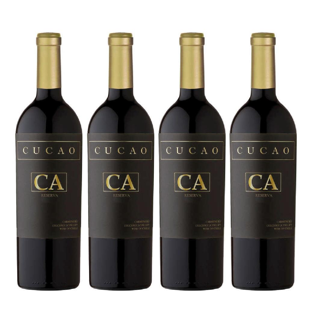 4x Vino Cucao Reserva Carmenere 750cc