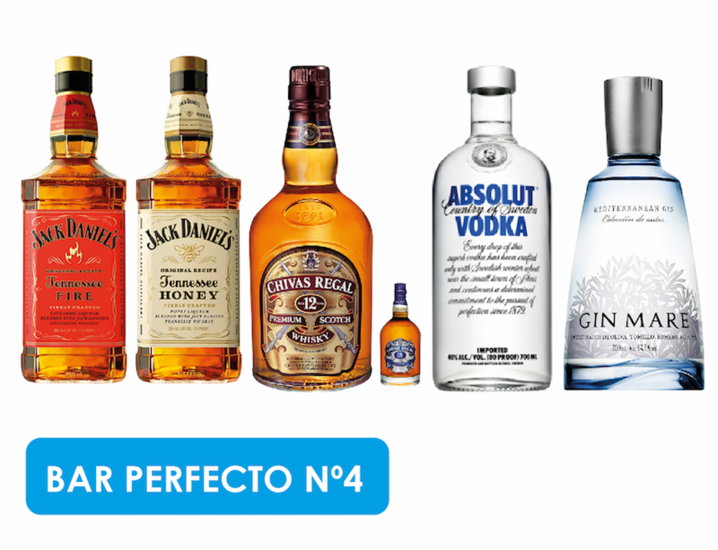 BAR PERFECTO N4: Jack Daniels Fire + Jack Daniels Honey + Chivas Regal 12 Años + Chivas Mini + Absolut Vodka + Gin Mare