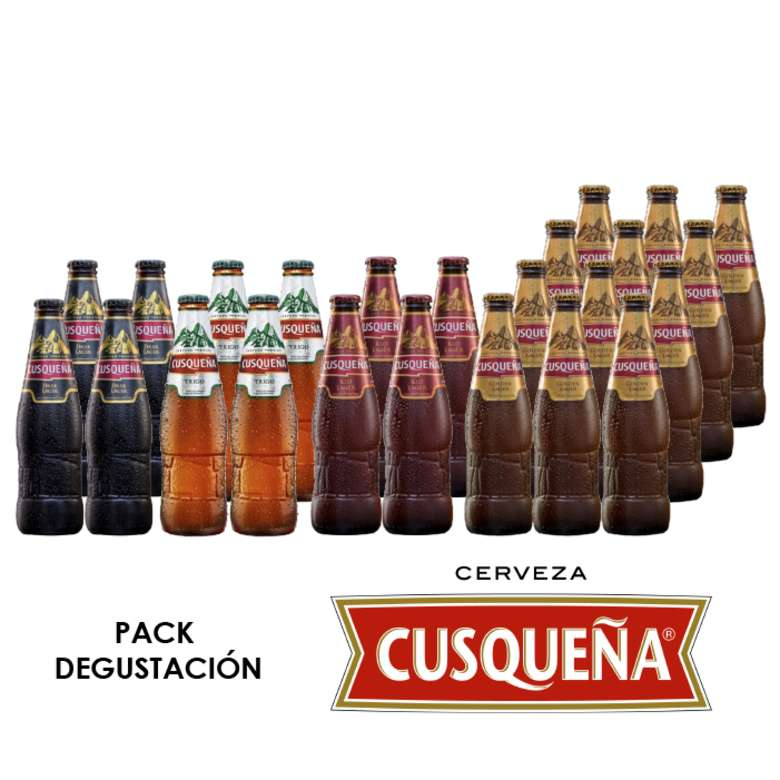 PACK DEGUSTACIÓN CUSQUEÑA: 4x Cerveza Cusqueña Dark en Botellas 330cc + 4x Cerveza Cusqueña Trigo Botella 330cc + 4x Cerveza Cusqueña Red Botella 330cc + 12x Cerveza Cusqueña Dorada en Botellas 330cc