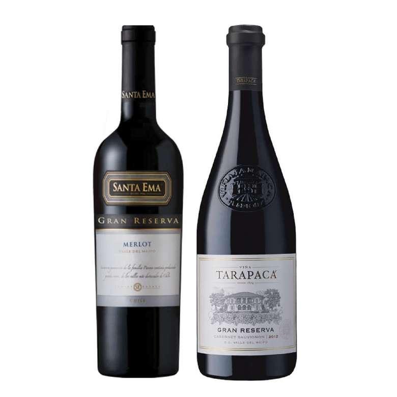 PACK DUO GRAN RESERVA Nº2 (Merlot + Cabernet): Vino Santa Ema Gran Reserva Merlot + Vino Tarapacá Gran Reserva Cabernet