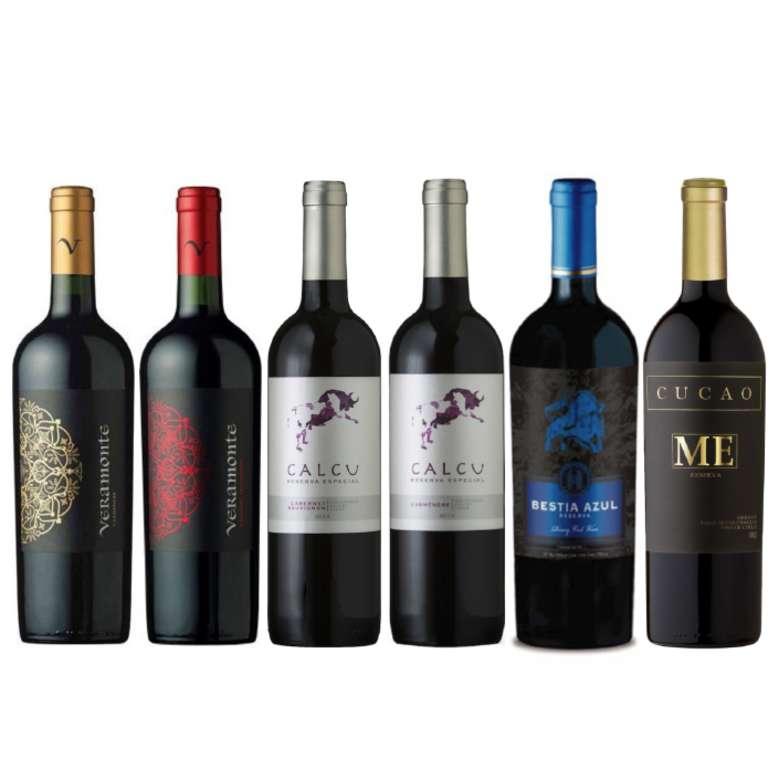 PACK VINOS RESERVA BEST VALUE: Veramonte (Carmenere + Cabernet) + Calcu Reserva (Carmenere + Cabernet) + Bestia Azul Cabernet + Cucao Merlot