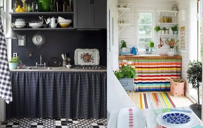 Como montar uma cozinha sem arm rio for Cortinas como puertas de armario