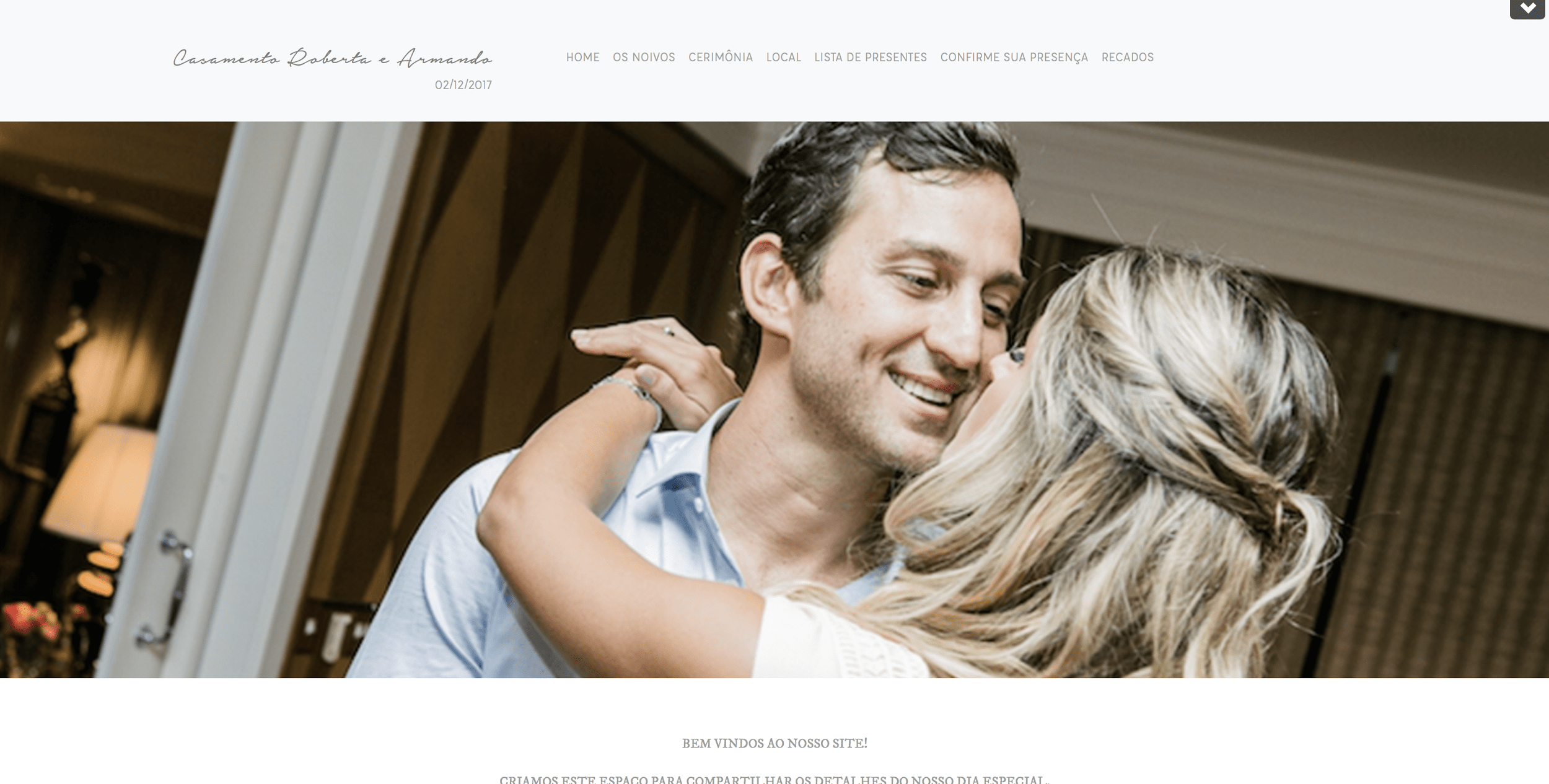 Site de casamento Roberta e Armando (Plano Vip Concierge by Just Married)