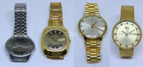c1f735c7b94 Quatro Antigos relógios de pulso masculino em aço e metal dourado ...
