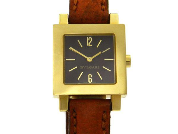 7f64e7f4e5a Relógio Bulgari Bvlgari Quadrato - Caixa em ouro amarelo 18k - Pulseira em  couro - Tamanho