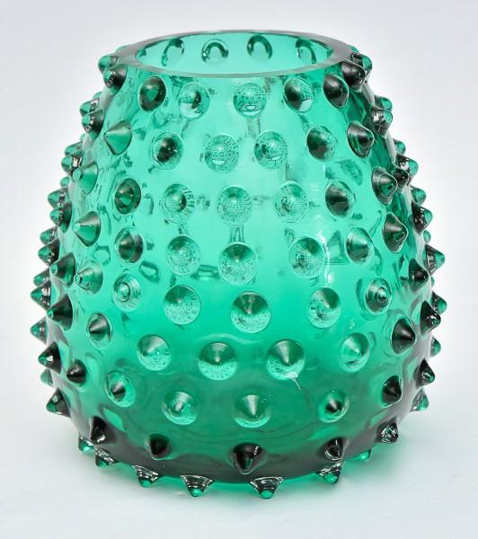Lindíssimo vaso decorativo contemporâneo confeccionado em vidro de Murano na cor verde todo decorado