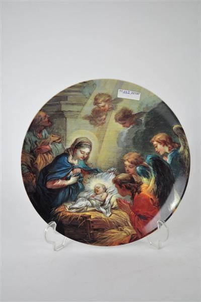 """Prato decorativo de porcelana Vista Alegre """"Festa de Natal 1999"""""""