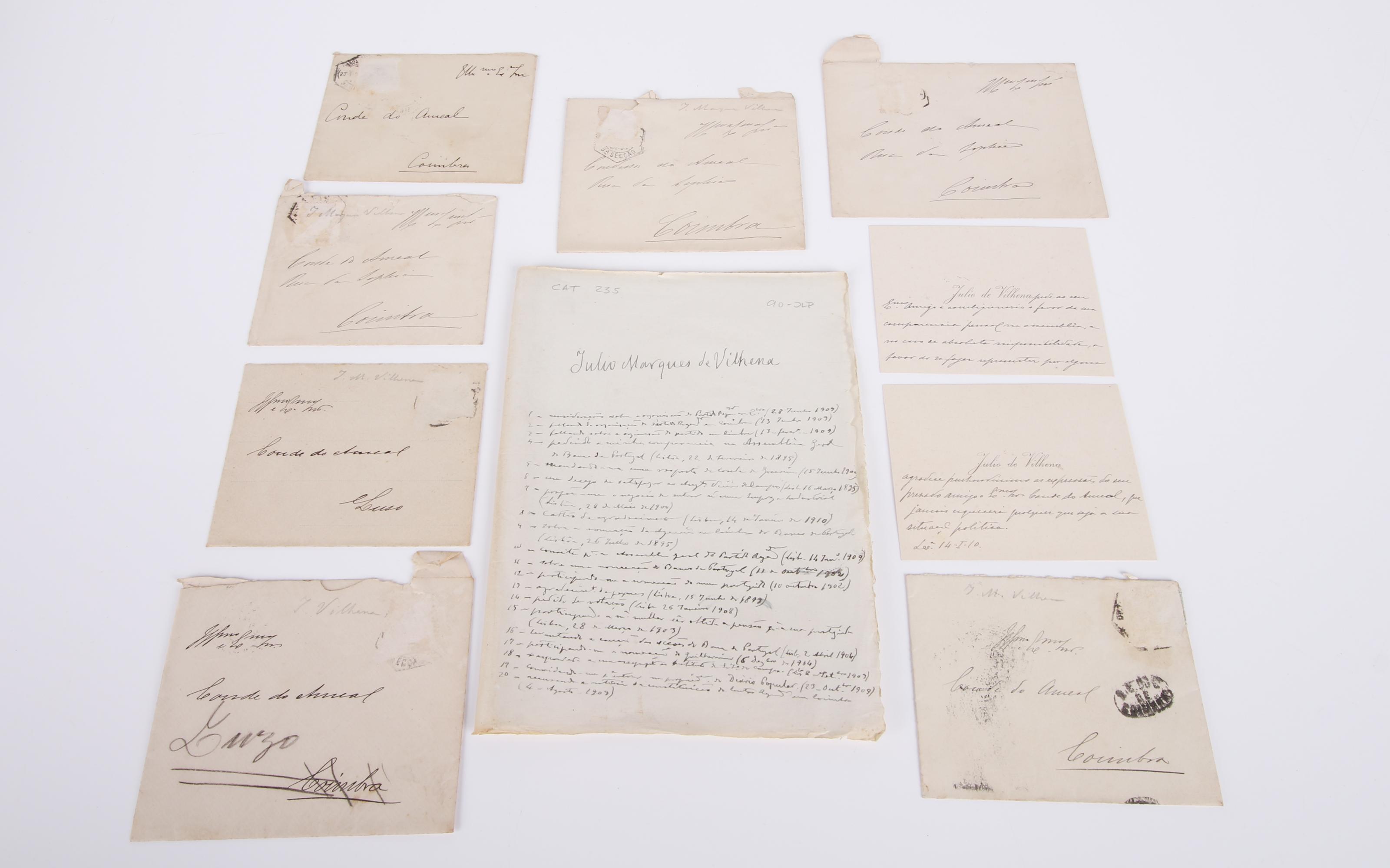 JÚLIO DE VILHENA.- Dezoito cartas e dois cartões