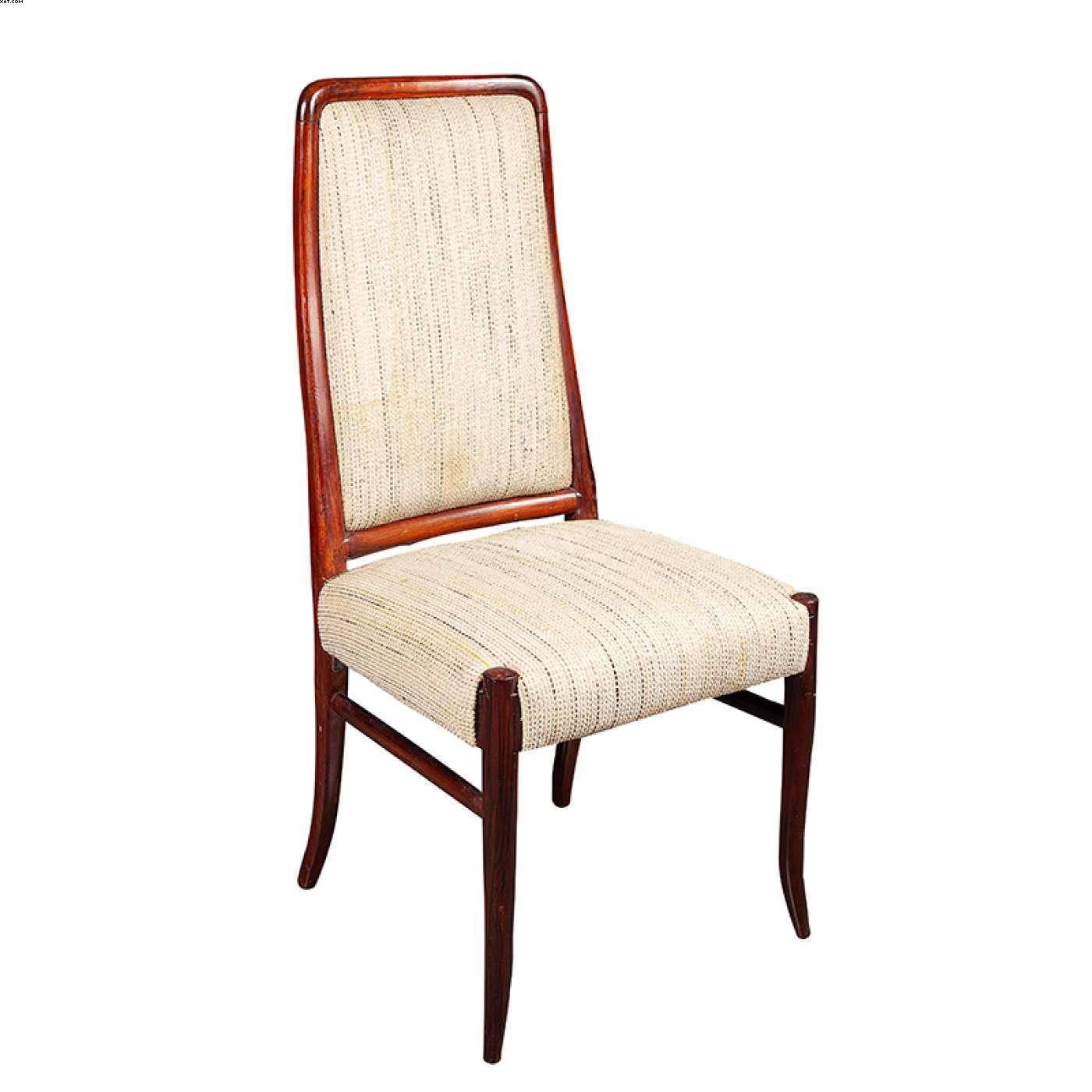 Par de cadeiras em jacarandá com estofado em tecido - Sergio Rodrigues (1927)