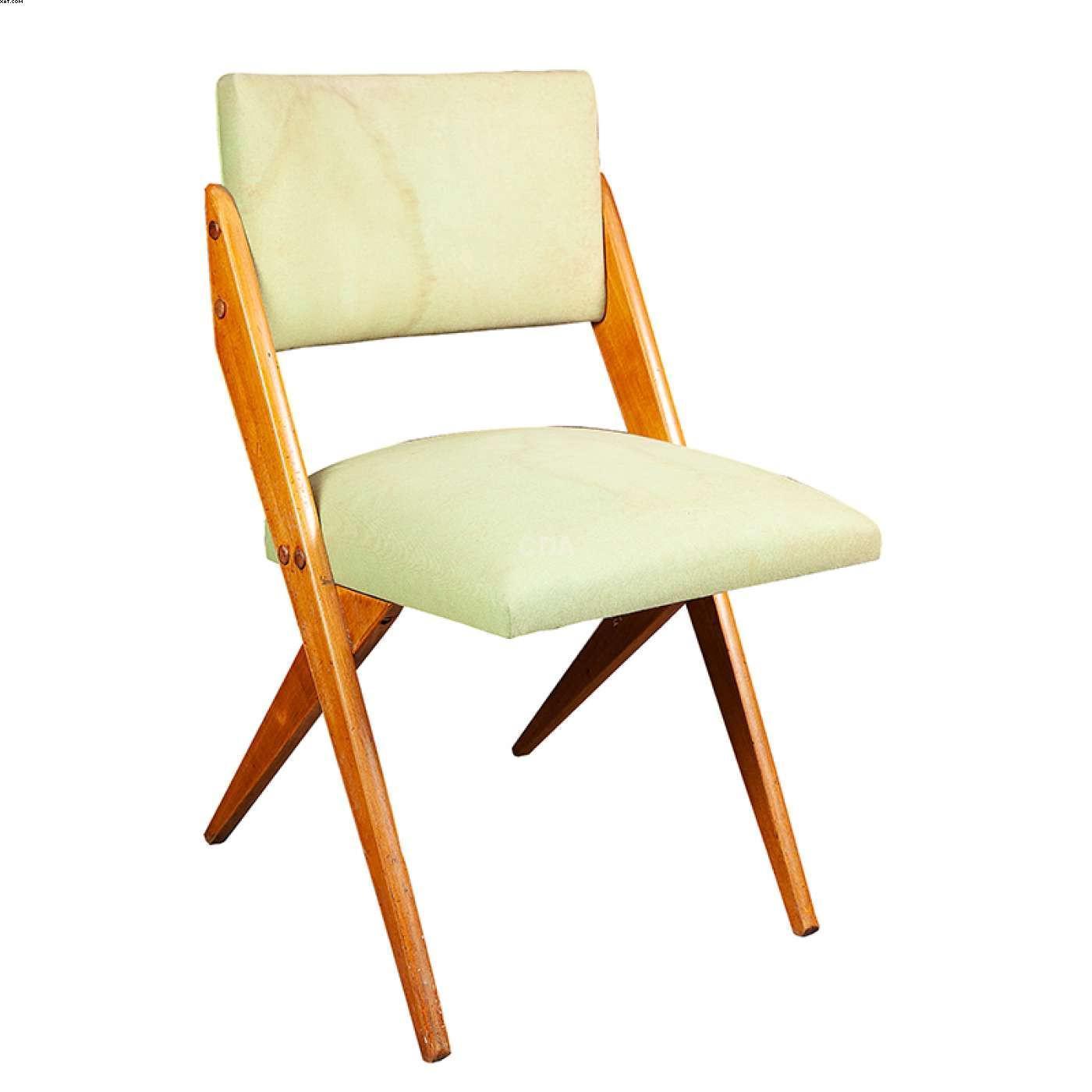 Cadeira com estofado em tecido verde  - Jose Zanine  Caldas