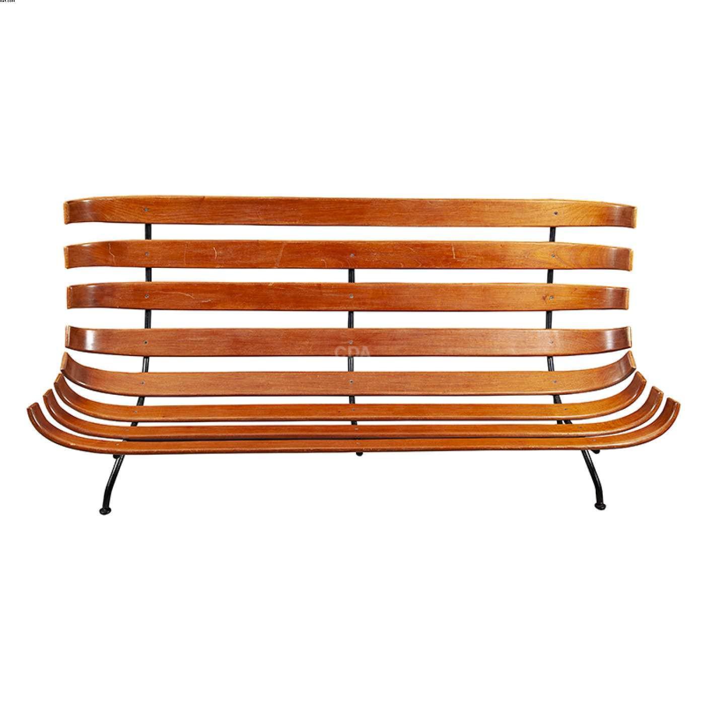 Sofá costela 2 lugares em madeira e metal  - Carlo Hauner