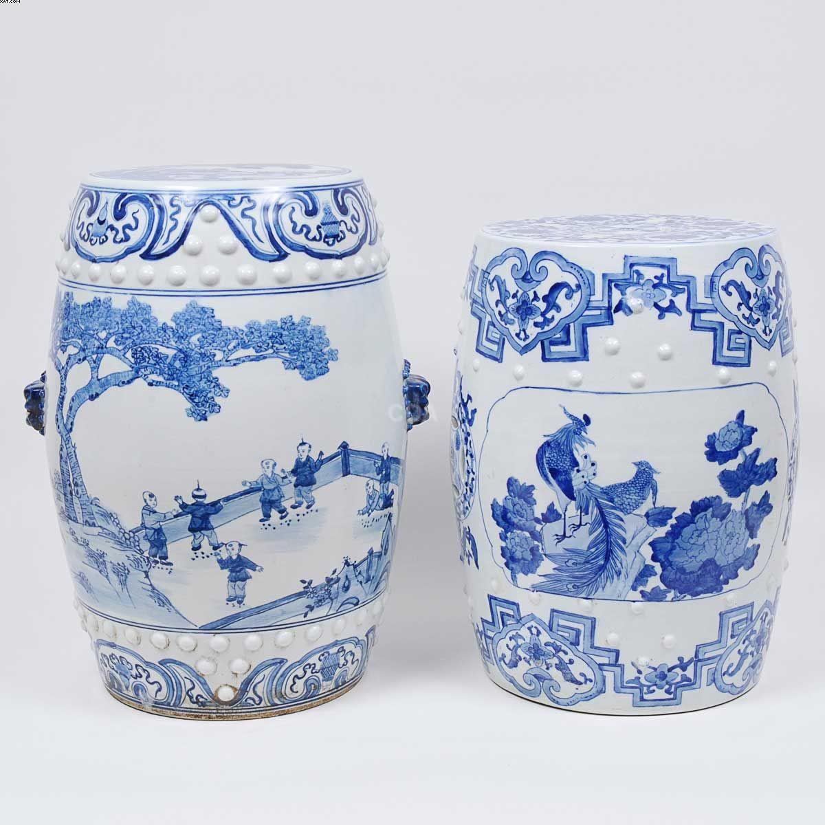 """Conjunto de 2 """"garden seats"""" em porcelana chinesa"""