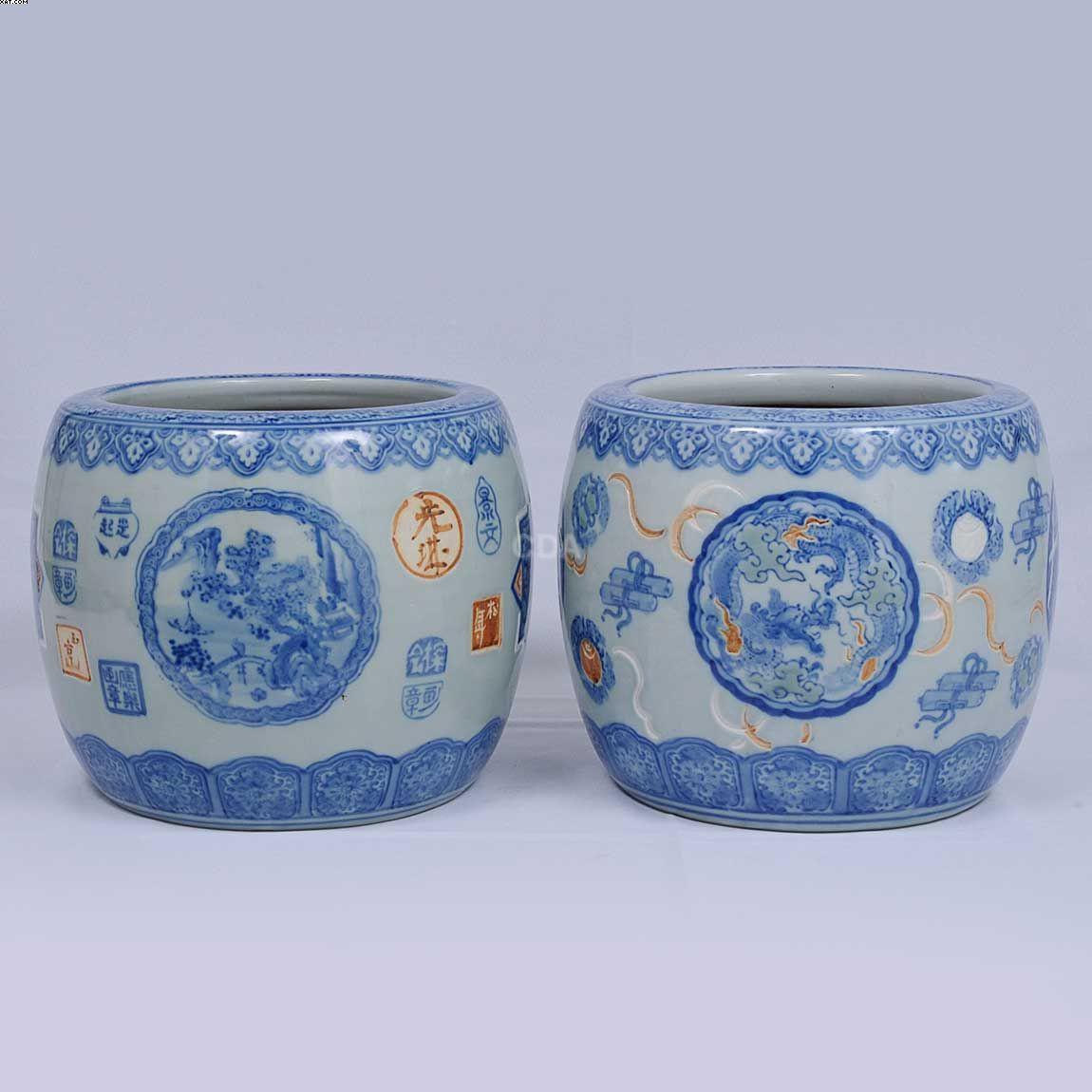 Par de jardineiras em porcelana japonesa