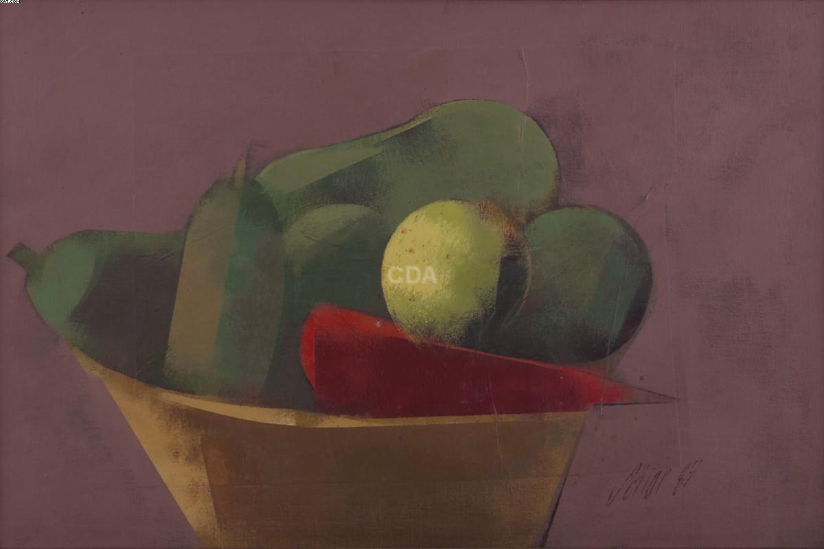 Frutas e legumes na cesta - Carlos Scliar