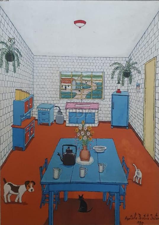 Interior com cão e gatos - Agostinho Batista de Freitas (1927-1997)