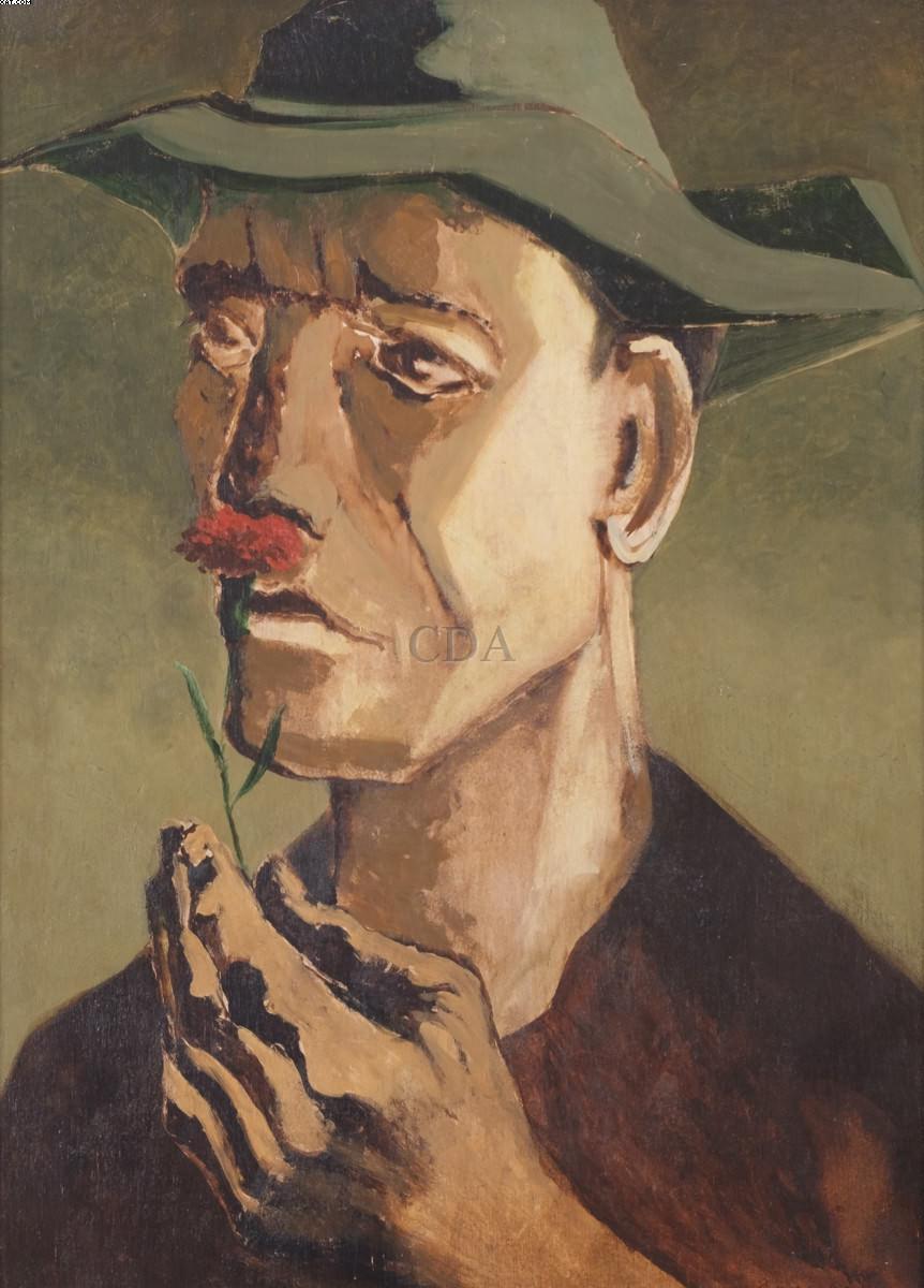 Homem com flor  - Clovis Graciano - Clóvis Graciano