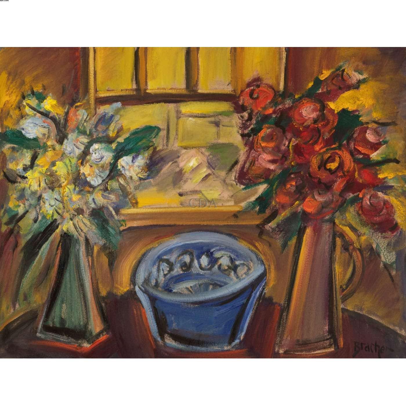 Flores, janela de Ouro Preto e rosas - Carlos Bracher - Carlos Bernardo Bracher