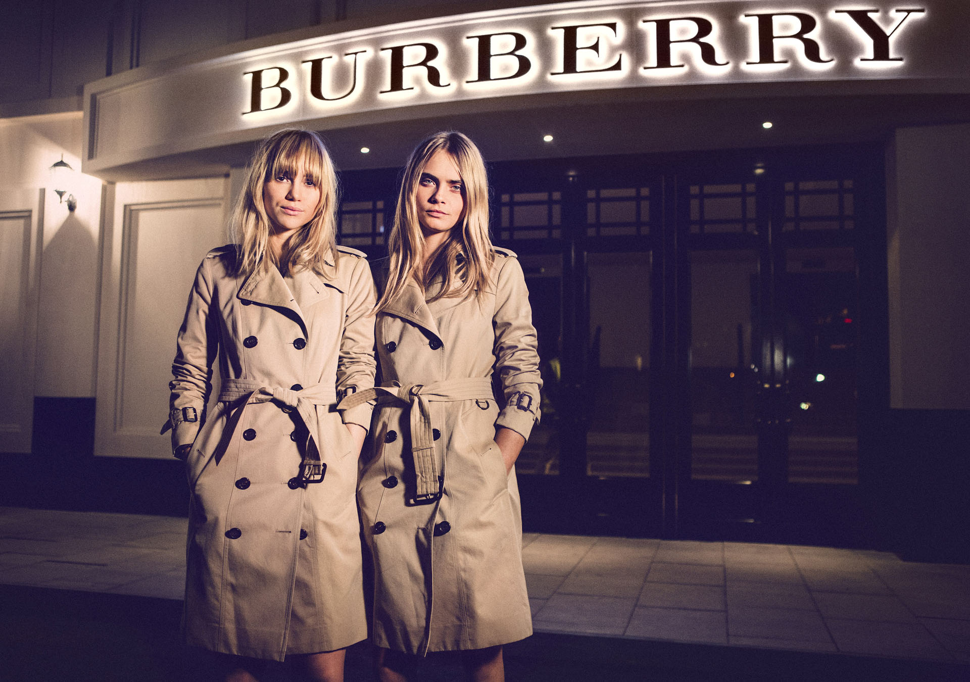 SHANGHAI, CHINA - APRIL 24: Models Suki Waterhouse and Cara Delevingne attend the Burberry brings London to Shanghai event on April 24, 2014 in Shanghai, China. (Photo by Getty Images for Burberry)