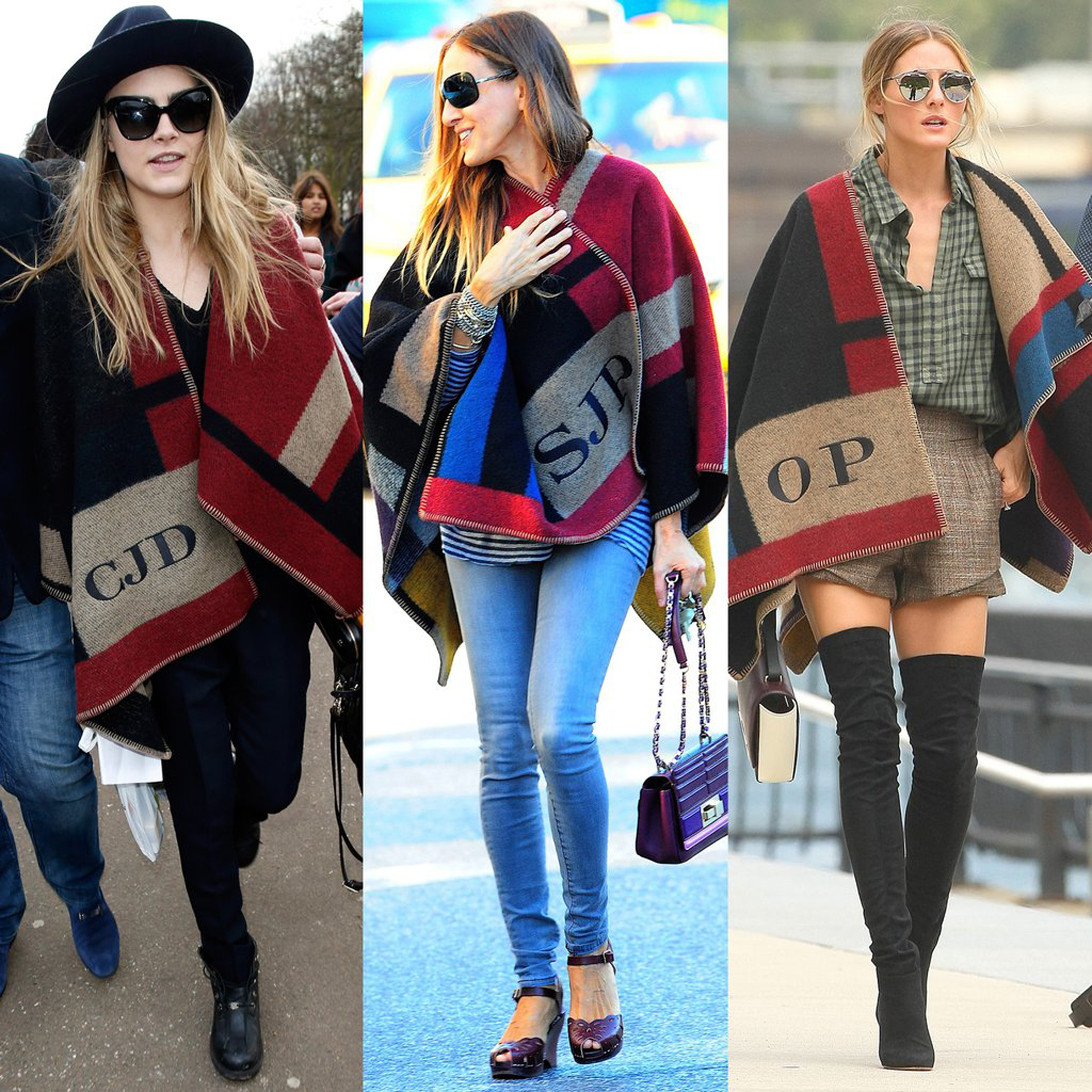 Celebrities-Wearing-Monogrammed-Burberry-Poncho
