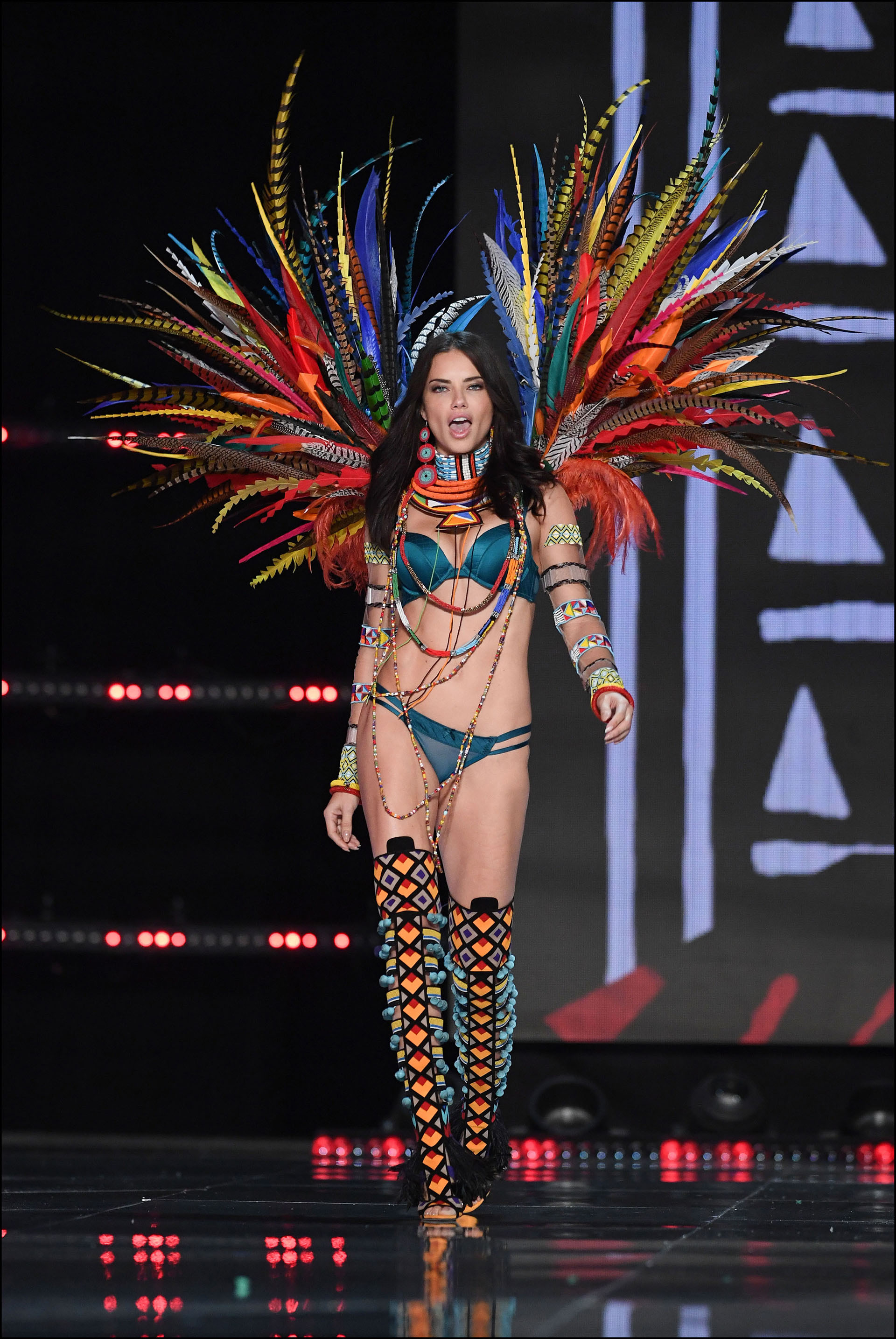 Adriana Lima is seen on stage at the Victoria