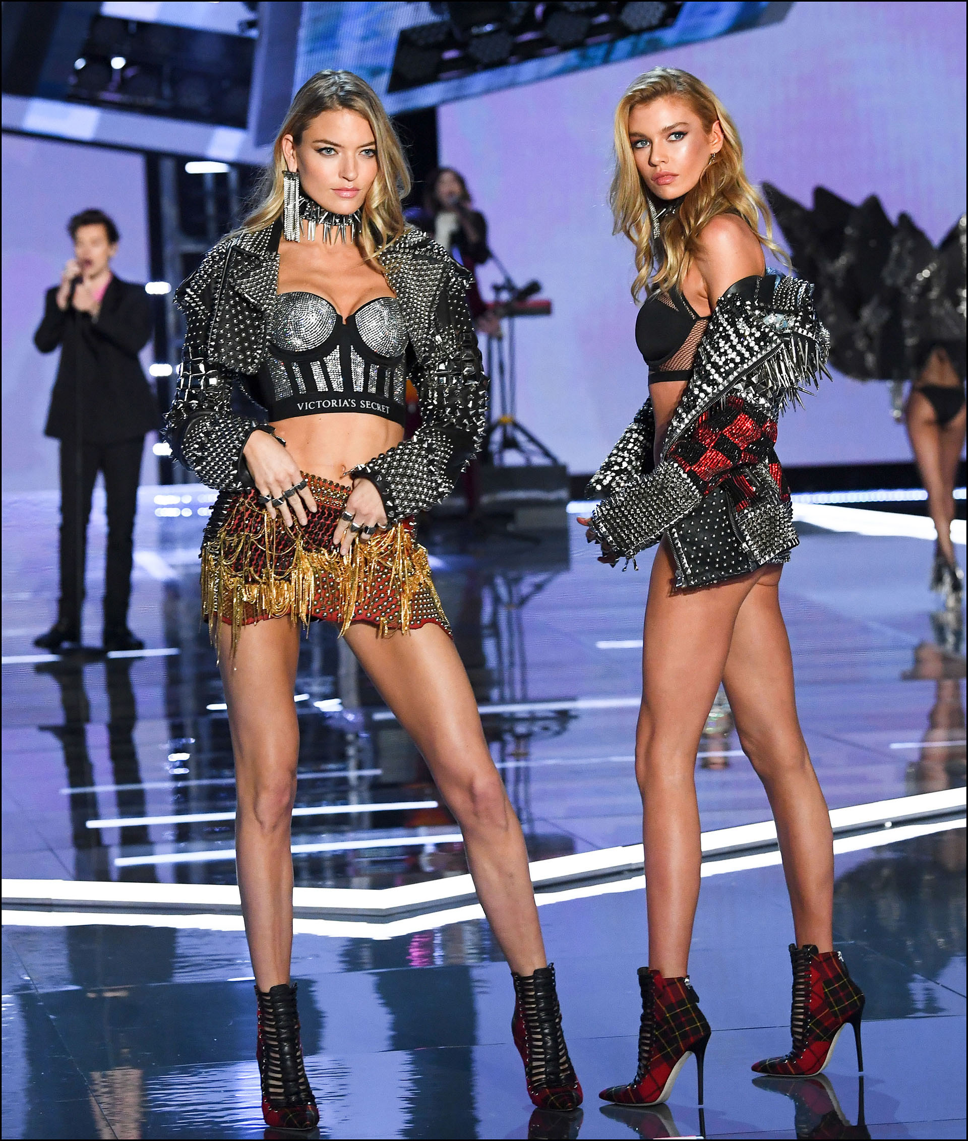 Martha Hunt and Stella Maxwell are seen on stage at the Victoria
