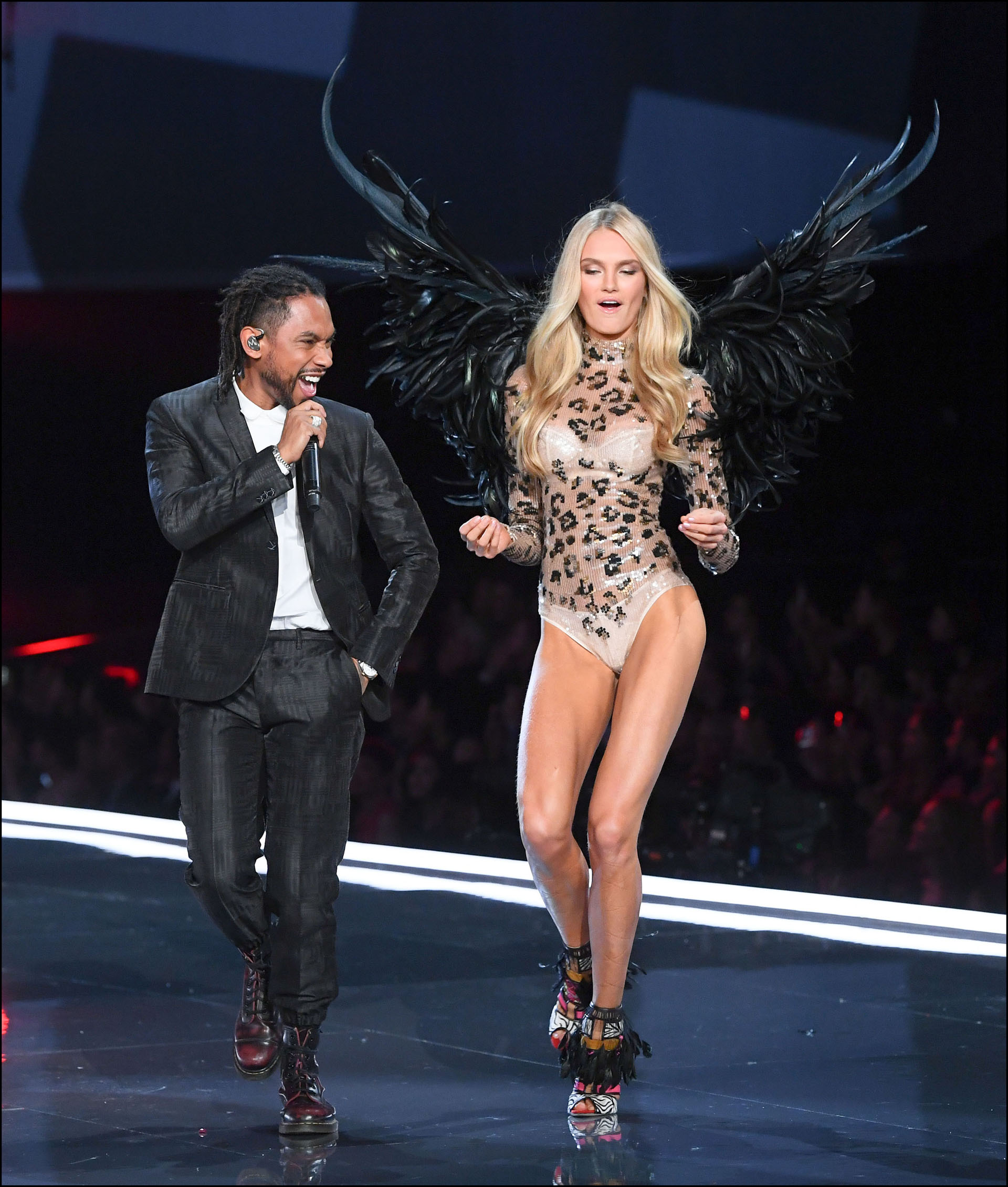 Romee Strijd is seen on stage at the Victoria